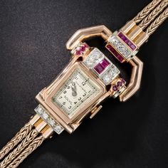 Paul Ditisheim Retro Rose Gold, Ruby,and Diamond Watch