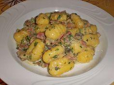 Gnocchipfanne mit Champignon – Schinken – Sahne – Sauce * Einfache Rezepte