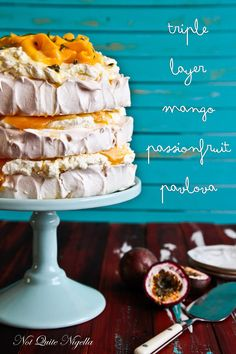 Triple Layer Mango & Passion Fruit Pavlova -- it was delicious! But I made a huge mess trying to stack it. Pavlova Cake, Meringue Pavlova, Meringue Desserts, Köstliche Desserts, Delicious Desserts, Meringue Food, Plated Desserts, Cupcakes, Cupcake Cakes