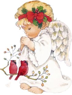 Christmas Angel With Red Cardinals ^i^ Angel Images, Angel Pictures, Vintage Christmas Images, Christmas Pictures, Christmas Clipart, Christmas Printables, Christmas Angels, Christmas Art, Xmas