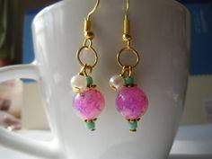 Cute colorful beads and pearl dangle earrings