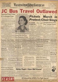 Washington Afro-American newspaper July 14,1944 Gloucester, Virginia -Irene Morgan was kicked off a bus, traveling to Baltimore, for breaking the row segregation law of 1930.