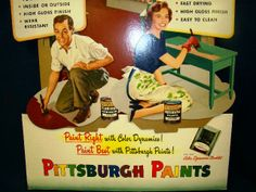 38c2b6a03b2 icollect247.com Online Vintage Antiques and Collectables - pittsburgh  paints cardboard easel back sign 1951
