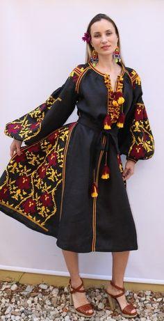 Black Kin style linen vyshyvanka linen MIDI dress burgundy yellow Embroidery. Sizes - XS-XXL MD043