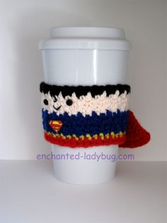 Free Crochet Superman Coffee Cup Cozy pattern by The Enchanted Ladybug