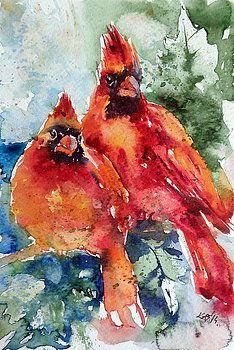 Cardinal birds by Kovacs Anna Brigitta