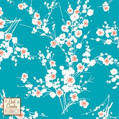 "PRESALE Teal Orange Cherry Blossom Floral Cotton Jersey Blend Knit Fabric - Exclusive to the Girl Charlee Kingfisher Collection!  Asian inspired cherry blossom flowers in a organic white, tangerine orange, and a lush teal blue green color background on our signature white cotton jersey blend knit.  Fabric is light to medium weight with a nice stretch.  Biggest flower blossom measures 1 1/4"".  Made in Los Angeles!     ::  $6.50"