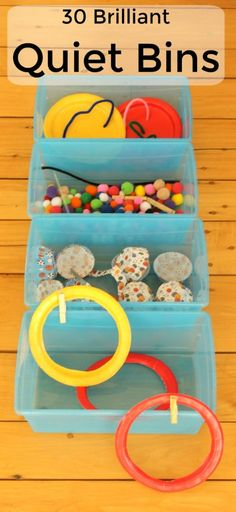 These 30 educational quiet boxes are perfect quiet time activities for preschoolers. All made up of only 9 dollarstore items! Quiet Time Activities, Kids Learning Activities, Creative Activities, Infant Activities, Motor Activities, Indoor Activities, Educational Activities, Quiet Time Boxes, Busy Boxes