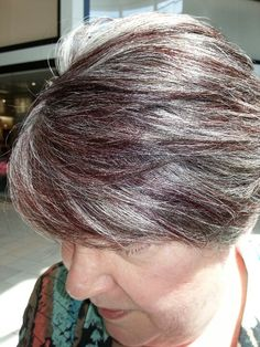Who says you can't do fun color on gray hair!! Artistic Color by : Myrna Hermida