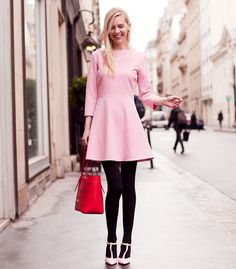 pastel pink dress 2017 with tights
