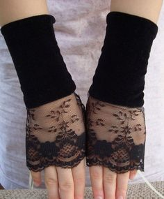 Black Velvet and Lace Cuffs
