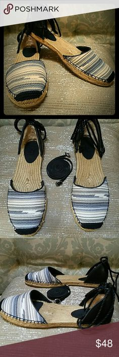 📣PRICE REDUCED NWT in box UGG espadrilles NWT in box UGG espedrilles navy and white come with leather buckle straps and navy cords so you can change your look. UGG Shoes Espadrilles