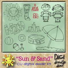 """Sun and Sand! CU doodles  Summer fun themed doodles made digital as vector images for designer use. These are color free """"digital stamps"""". Please follow TOU. CU-OK! -No credit required-"""