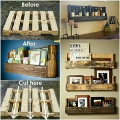 Pallet crafts wine display books photos home decor