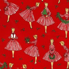 Retro Hostess Christmas Fabric / Michael Miller Sewing Material /1950's Ladies in Red/ Red and White Stripe/quilts, clothing, aprons1/Yard