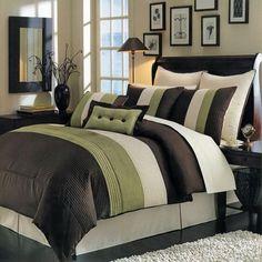Modern Color Block Green Brown Comforter Set
