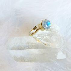 Aura - Rainbow Moonstone Brass Ring – Druzy Dreams