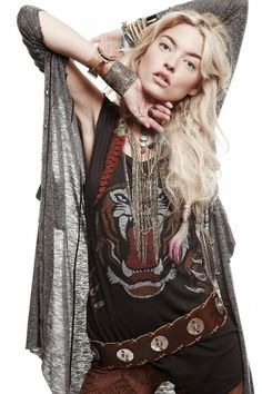 Boho hippie with rock appeal. Nice layers.