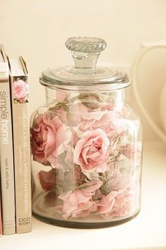 Much better than keeping dried flowers in a vase to collect dust and get nasty ugly! Keep them clean and forever beautiful in a big covered jar.