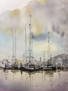 Watercolor Artists, Watercolor Landscape, Landscape Paintings, Watercolor Paintings, Watercolours, Boat Art, Boat Painting, Draw On Photos, Guache