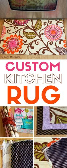 A Kitchen rug completes the look of a beautiful kitchen. An easy DIY craft tutorial idea to make a custom kitchen rug. It's easier than you may think! Diy Home Decor Projects, Easy Home Decor, Easy Sewing Projects, Handmade Home Decor, Sewing Hacks, Outdoor Projects, Sewing Diy, Handmade Rugs, Sewing Crafts