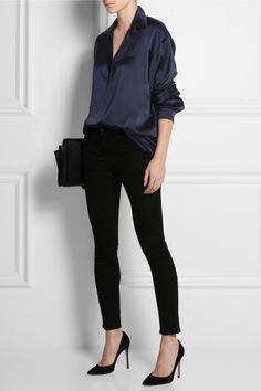 Oversized silk-satin shirt, tee by Alexander Wang, high-rise skinny jeans, Gianvito Rossi Camnero suede pumps & Maison Martin Margiela leather shoulder bag Blue Shirt Outfits, Black Pants Outfit, Blouse Outfit, Navy Blue Outfits, Blue Shirt Black Pants, Black Satin Shirt, Black Jeans, Navy Blue Blouse, Navy Blue Shirts