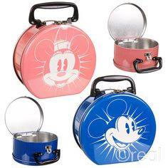 New Disney Mickey Mouse Or Minnie Mouse Tin Tote Lunchbox School Retro Official in Home, Furniture & DIY | eBay