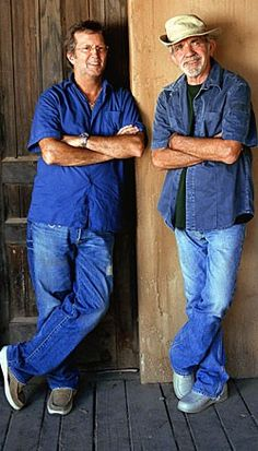 B'day celebrant JJ Cale with Eric Clapton in 2005 -- photo for their LP they did together released in 2006 -- JJ wrote several of Eric's big hits, Cocaine and After Midnight