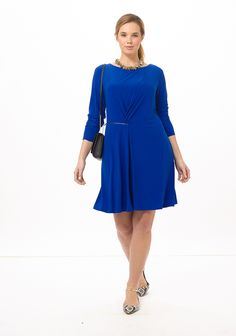 Zipper Dress In Royal Blue by Taylor Dresses, Available in sizes 10W-24W