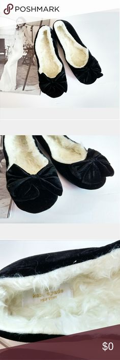 FLASH SALE! KATE SPADE BLACK VELVET SLIPPERS Brand new Kate Spade black velvet slippers with bows and faux fur lining to keep your feet warm. Size: 5.5 or 6 kate spade Shoes Slippers