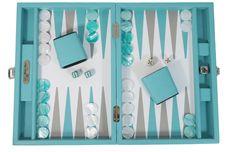 Backgammon Cuir Buffle Turquoise Médium - Nouvelle Collection