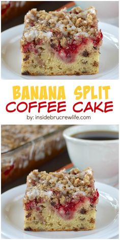 A delicious banana split twist will make this banana coffee cake your go to summer breakfast recipe.