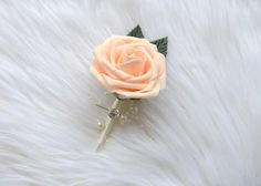 PEACH BLUSH Boutonniere with Pearls Bling Gem by KimeeKouture
