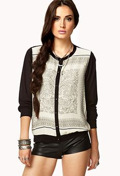 Scarf Print Knit Top- Forever 21