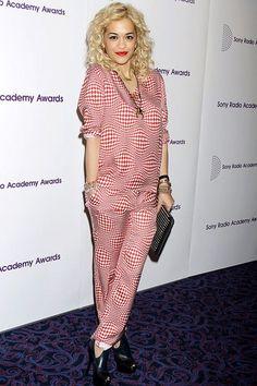 Rita Ora in pyjama suit