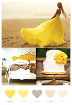 Pops of yellow ::: gown ::: wedding ::: bedroom ::: romance ::: color palette Colour Schemes, Wedding Color Schemes, Color Combinations, Color Palettes, Pastel Ombre, Yellow Wedding Colors, Yellow Weddings, Color Inspiration, Wedding Inspiration