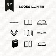 Basic Books icon set isolated royalty-free stock vector art
