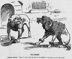 Political cartoon by JM Staniforth: A French poodle begs for scraps from a…