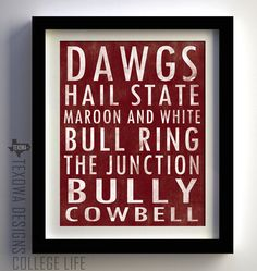 Mississippi State Bulldogs Subway Scroll Art by texowadesigns, $25.00
