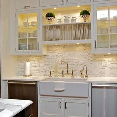 amusing cream kitchen cabinets | I like the crown. These are 36 inch cabinets with 8 ft ...