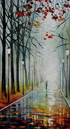 Modern Art Work Fall Wall Decor Oil Painting On Canvas By Leonid Afremov – Fog In The Park. Size: X Inches cm x 90 cm) - Painting City Painting, Oil Painting Abstract, Painting Art, Knife Painting, Painting Lessons, Painting Clouds, Painting Trees, Painting Flowers, Painting Videos