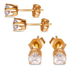 Ladies 5/8cttw Studs Earrings in 14k Yellow Gold - Jewelry Deals 80% OFF + $25 OFF extra discount on purchases $500 & UP ! Enter PINPROMOT coupon at CHECKOUT to get $25 OFF when you place your order @ NissoniJwelry.com
