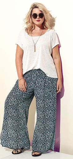 Plus Size Floral Chiffon Wide Pants