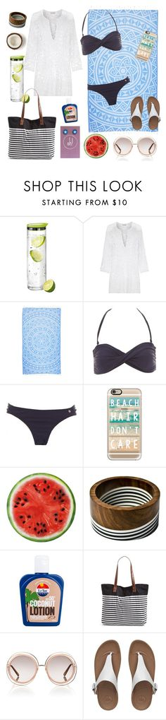 """""""Beach Day"""" by oh-buttons on Polyvore featuring blomus, Miguelina, Casetify, Le Tan, Rip Curl, Chloé, FitFlop, women's clothing, women's fashion and women"""