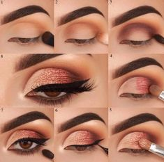 Amazing eye makeup tutorial for beginners eazy eye makeup ideas eye makeup step by step eye makeup looks prom natural eyeshadow looks ideas eye makeup everydayeyeshadow tutorial eyeshadow palette Pink Eye Makeup, Makeup Eye Looks, Eye Makeup Steps, No Eyeliner Makeup, Cute Makeup, Makeup For Green Eyes, Easy Makeup, Simple Makeup, Eyeshadow Designs