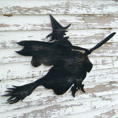 Wish I had a place for this!!    Witch Sign Flying Broom Halloween Decoration by SlippinSouthern, $89.00