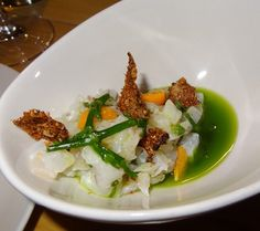 Black bass ceviche with lime, gooseberry, and bay leaf | Yelp