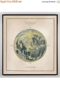 This Gorgeous Antique Moon print is a hand-colored lithograph from Diderots famed Century Encyclopedia, restored and redesigned as wall art in my studio. This is a really unique and lovely moon print with delicate antique touches. Large Prints, Fine Art Prints, Framed Art, Framed Prints, Wall Art, Vintage Moon, Antique Paint, Art Antique, Moon Print
