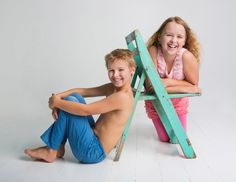 Children & Family Portrait Photography by Jo Frances Wellington - Fun photo of siblings on green wooden chair, by Jo Frances Studio Photos, Photo Studio, Child Portraits, Family Portraits, Family Portrait Photography, Children And Family, Siblings, Chair, Green