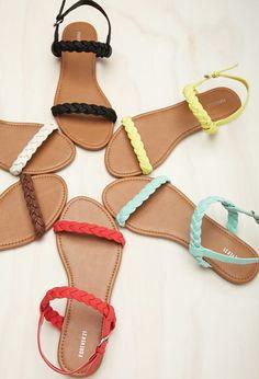 f4e573fb3329 Braided Faux Leather Slingback Sandals